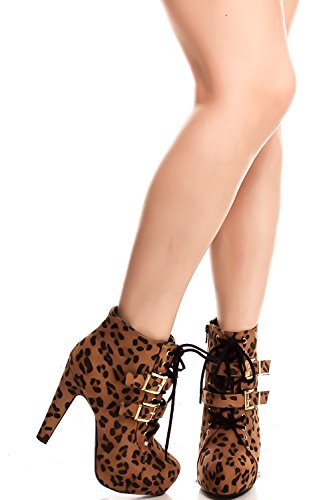 FORTUNE DYNAMIC LEOPARD PRINT FAUX SUEDE LACE UP DOUBLE BUCKLE HIGH HEEL BOOTIES 7 tanleo