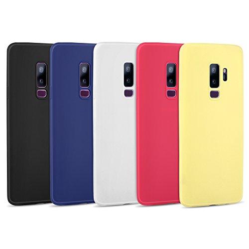 Galaxy S9 Plus Case, Pofesun 5 Pcs Slim Fit Samsung Galaxy S9 Plus Case Soft Flexible TPU Rubber Silicone Gel Cover Shell for Samsung Galaxy S9 Plus(2018)-(Black, White, Blue, Red,Yellow)