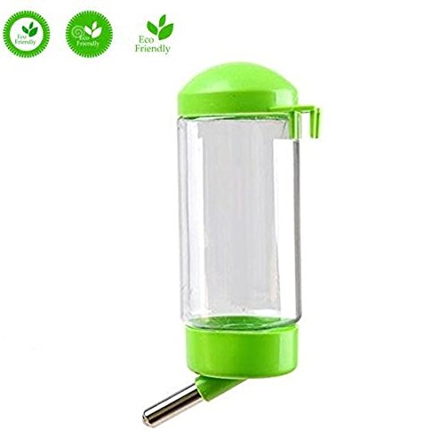 Pet Water Bottle Hanging No Drip Chew Proof Automatic Feeding for Cat Rabbit Puppy (Green)