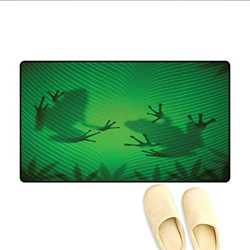 (Bath Mat,Frog Shadow Silhouette on The Banana Tree Leaf in Tropical Lands Jungle Games Graphic,Floor Mat Pattern,Green,Size:20