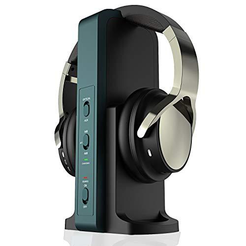 Rybozen Wireless Headphones for TV Watching with 2.4G Digital RF Transmitter Charging Dock, Hi-Fi Over-Ear Cordless…