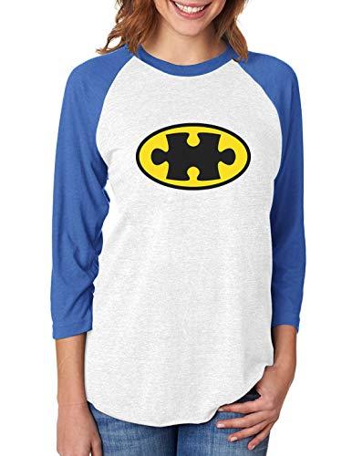 Tstars Autism Awareness Superhero Puzzle Logo 3/4 Women Sleeve Baseball Jersey Shirt X-Large Blue/White