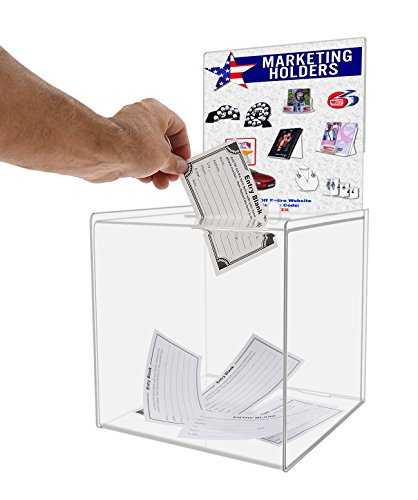 Marketing Holders Clear 8x8 Ballot Box or Suggestion Box with Sign Holder and Lock (Pack of 1)