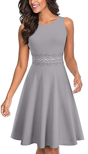 HOMEYEE Women's Sleeveless Cocktail A-Line Embroidery Party Summer Wedding Guest Dress A079(6,Gray)