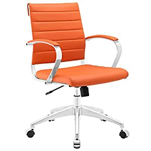Astonishing Modway Jive Ribbed Mid Back Computer Desk Swivel Office Chair In Orange Ncnpc Chair Design For Home Ncnpcorg