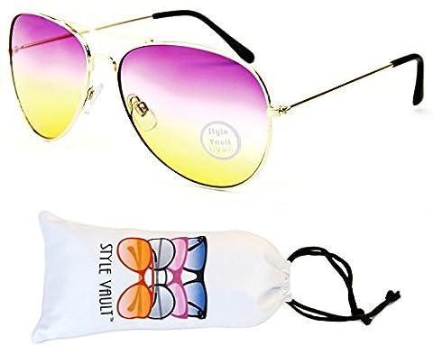 A67-vp Aviator Pilot Colored Lens Metal Sunglasses (B3209F Gold-Pinkish Yellow, uv400)