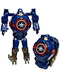 Captain America Transformer Hero Watch Robot Toy Convert to Digital Wrist Watch for Kids Avengers Robot Deformation Watch Hero Figures Plus Watch