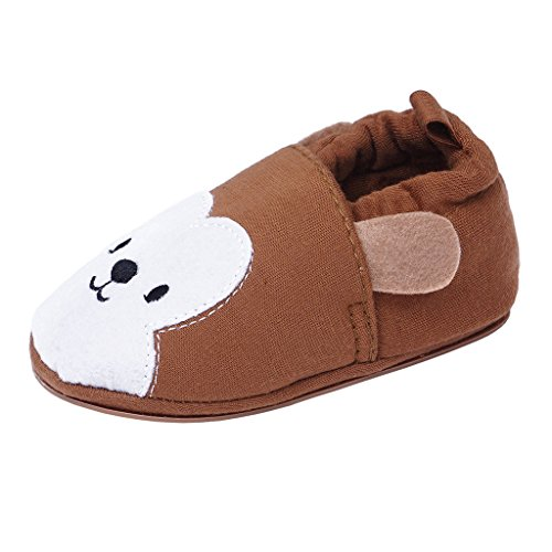 Annnowl Baby Slippers Non Slip Soft Rubber Sole Cartoon Crib Shoes (12-18 Months, -