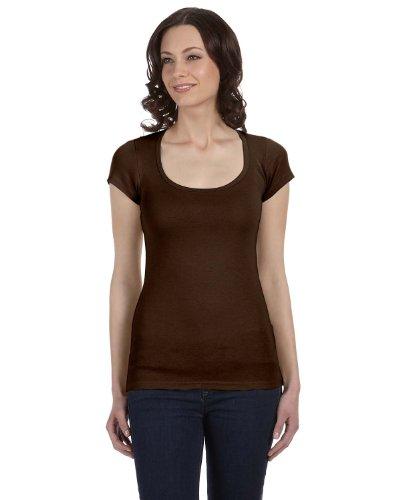 (Bella Womens Margot sheer Scoop Neck Cap Sleeve T Shirt - CHOCOLATE -)