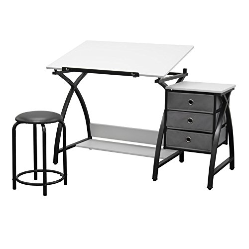 Studio Designs 13326 Comet Center with Stool, Black/White from Studio Designs
