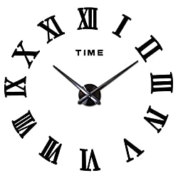 Frameless 3D DIY Silent Wall Clock Mirror Surface Decorative Clock Large Wall Stickers Clock Living Room Bedroom Office Home Decorations (Black)