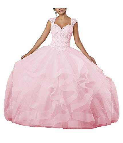 ZLQQ Women's Sweet 16 Lace Applique Beading Sleeveless Ball Gown Quinceanera Dresses_Light Pink_24W (Cathedral Train Sleeveless)