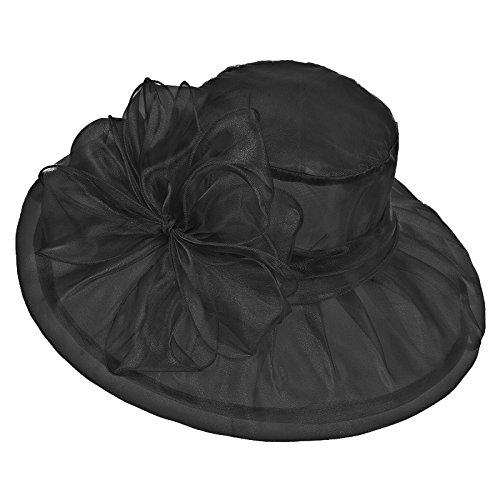 Original One Women Kentucky Derby Ascot Girls Tea Party Dress Church Lace Hats (Black) -