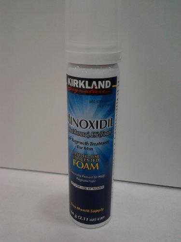 NOUVEAU - Kirland Minoxidil Traitement de la croissance des cheveux Uncented 6 mois d'approvisionnement Aérosol topique 5% (FOAM), (comparez à de Rogaine Matière active masculine)