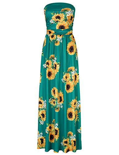 (Leadingstar Women's Floral Casual Beach Party Maxi Dress (Green Sunflower, S))