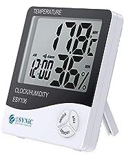 eSynic Digitale lcd-thermometer en hygrometer voor binnen, met lcd-display, temperatuurmeter, vochtigheidsmeter en systeemtijd, 12 uur/24 uur met alarm