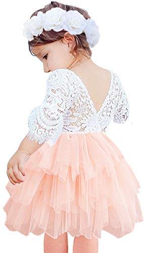 Pink Dress For Girl (2Bunnies Girl Beaded Peony Lace Back A-Line Tiered Tutu Tulle Flower Girl Dress (Pink Bell Sleeve, 12)