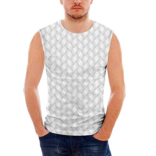 Island Man Wicker (Grey100% Heavy Cotton H D Tank,Modern Knit Style Wicker Graphic Artprint Light S)
