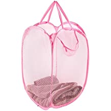 Pop Up Laundry Hamper - Includes Homemade Stain Removal Recipe - Household Storage Essentials (Pink)