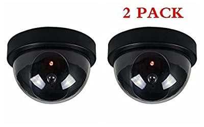2 Pack indoor Outdoor Dome Camera Dummy Fake Security CCTV Dome Camera with Flashing Red LED Light, Blink Every Other Second