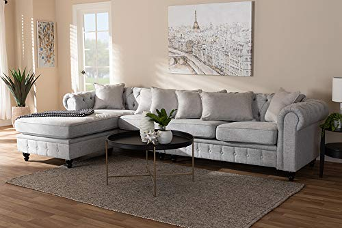Amazon.com: Baxton Studio Chesterfield Reversible Sectional ...