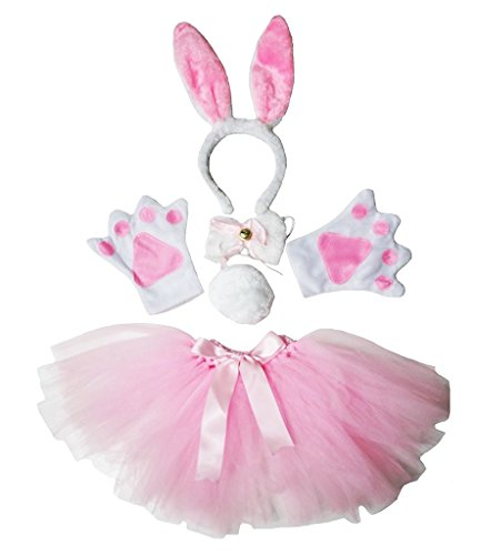 Petitebella Headband Bowtie Tail Gloves Tutu Unisex Children 5pc Girl Costume (Pink White Bunny) -