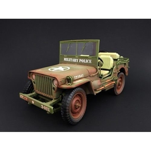 Jeep US Army WWII Vehicle Military Police Green Weathered Version 1/18 by American Diorama 77406 A