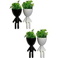 Kit Com 4 Vasos De Plástico Robert Planta Artificial