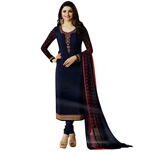 Designer Italian Crepe Embroidery Readymade Salwar Kameez Indian – 0X Plus, Blue
