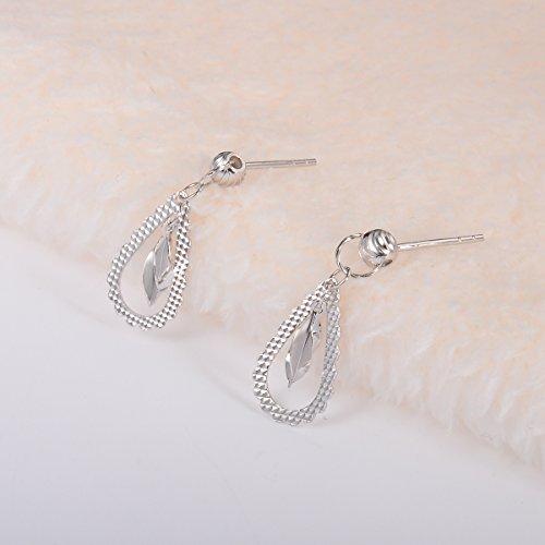 HOUSWEETY 1 Paire Boucles d'oreilles / Clous d'Oreilles en Argent Fin 925/1000 Plaque Rhodium Larme pour Femme et Fille