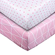 Crib Sheet Toddler Sheet UOMNY 100% Cotton Baby Coverlet for Baby Girl and Baby Boy 2 Pack(Pink line Pattern/Pink dot Pattern)