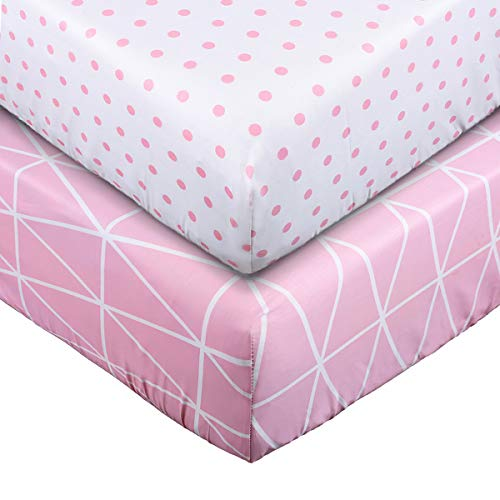 (Crib Sheet Set UOMNY 100% Natural Cotton Crib Fitted Sheets Baby Sheet Set for Standard Crib and Toddler mattresses Nursery Bedding Sheet for Boys and Girls 2 Pack(Pink line Pattern/Pink dot Pattern))