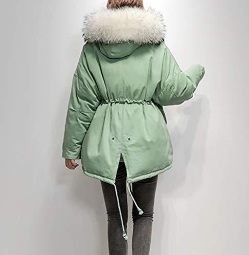 Fourrure Avec Windbreaker Femme Col Coupe Veste D'hiver Long Kaki Coréenne Slim Grand Capuche Doudoune Ample En xnaWw6PB