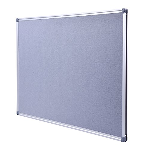 Aluminum Framed Wall- Mounted 48 x 36 Inch Large Fabric Bulletin Board Message Memo Pin Board for Home Office School, Grey ()