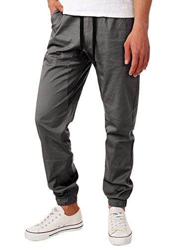 HEMOON Chino Jogging Pants, Mens Drawstring Stylish No Zip Elastic Waist with Drawstring Regular fit Jogger Pants Trousers Medium Grey Back Zip Stretch Trousers