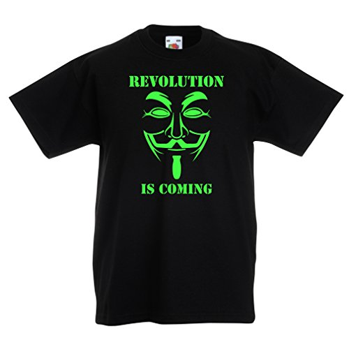 lepni.me Kids T-Shirt The Revolution is Coming - The Anonymous Hackers mask, V for Vendetta (7-8 Years Black Green) for $<!--$13.27-->