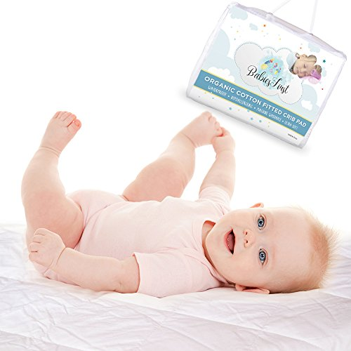 Organic Cotton Crib Mattress Protector Waterproof, - Soft & Breathable Infant fitted pad/cover- Fits Most Baby Crib Mattresses (52