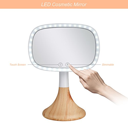 Dependable Direct Lighted Makeup Mirror – Incredibly Bright LED Light – Wireless Capabilities – and Stylish - with 10x Magnification Spot Mirror - Mirror with Wood Grain Finish Base by Dependable Direct (Image #1)