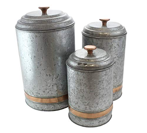 (Galvanized Canisters Farmhouse Rustic Metal Set of 3 Flour Sugar Container Canister Kitchen Single Copper Band by Well Pack)