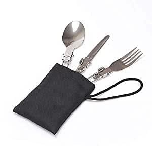 G'SOUL Stainless Steel Flatware Set Foldable Tableware Set Spoon and Fork Set