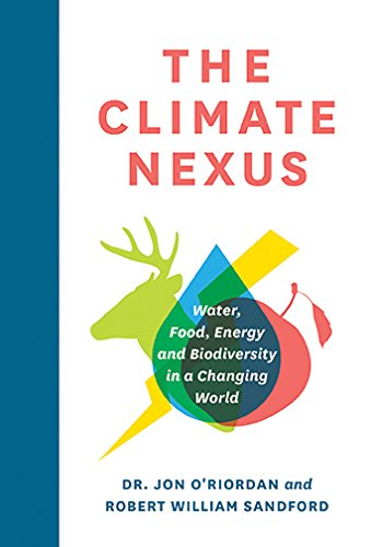"""Image of book cover showing an emblem with an animal, water drop and apple combined. Text reads """"The Climate Nexus: Water, Food, Energy and Biodiversity in a Changing World"""""""