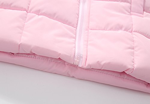Happy Cherry Baby Girls Winter Hooded Coat Zipper up Puffer Outwear Windproof Thicken Down Jacket 1-2T Pink by Happy Cherry (Image #6)