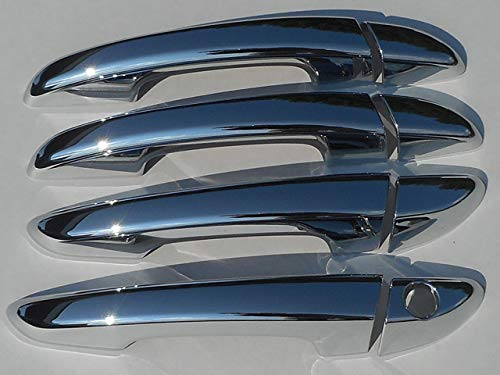 QAA fits 2015-2019 Hyundai Sonata (8 Piece Chrome Plated ABS Plastic Door Handle Cover Kit, Without Passenger Side Key Access) DH15360 (Chrome Plated Steel Handle)