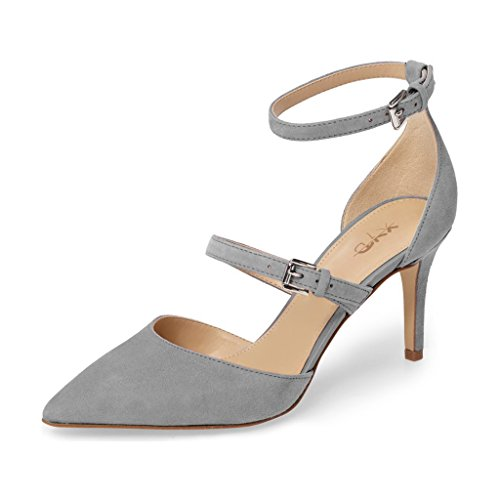 Shoes Strap Toe Pointed Chic Buckle Ankle Grey Mid Kitten Pumps XYD Heels Women Dress Bqt7xwtnX
