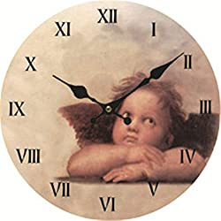 Moonluna Little Angel Vintage Wooden Wall Clock Silent Non-Ticking Clock for Living Room Home Office 12 Inches