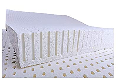 OrganicTextiles All Natural Latex Non Blended Mattress Topper with Preferred Medium Firmness 2 inch thick