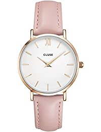 Womens Minuit 33mm Pink Leather Band Metal Case Quartz White Dial Analog Watch CL30001. CLUSE