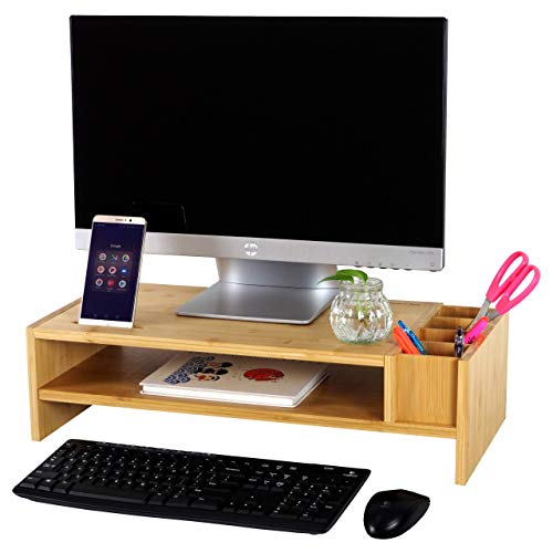 Bamboo 2-Tier Monitor Stand Riser | Wood Desk Organizer for Home and Office Workstation Table | Laptop and Computer Monitor Riser with Adjustable Storage Accessories