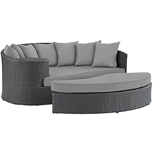 - Modway EEI-1982-CHC-GRY Sojourn Wicker Rattan Outdoor Patio Sunbrella Fabric Sectional Sofa, Daybed, Canvas Gray