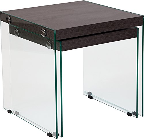 Contemporary Modern Design Driftwood Wood Grain Finish Nesting Table with Glass Frame by Belncik